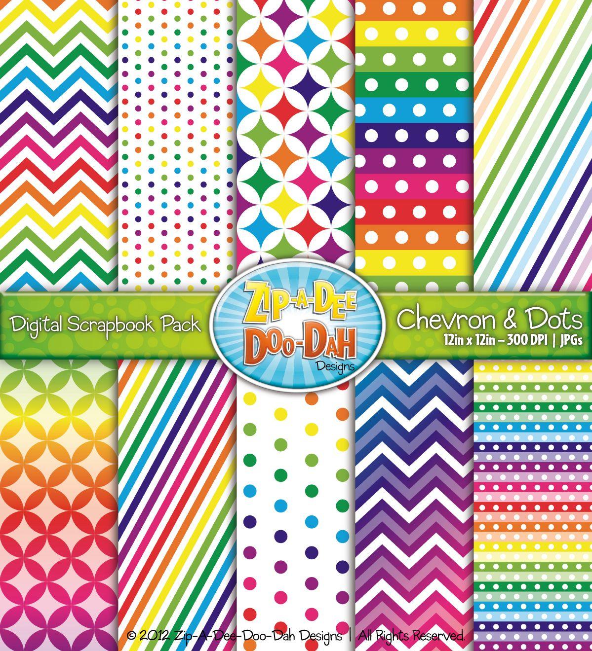 Scrapbook ideas rainbow - Chevron Dot Digital Scrapbook Pack Rainbow Pages