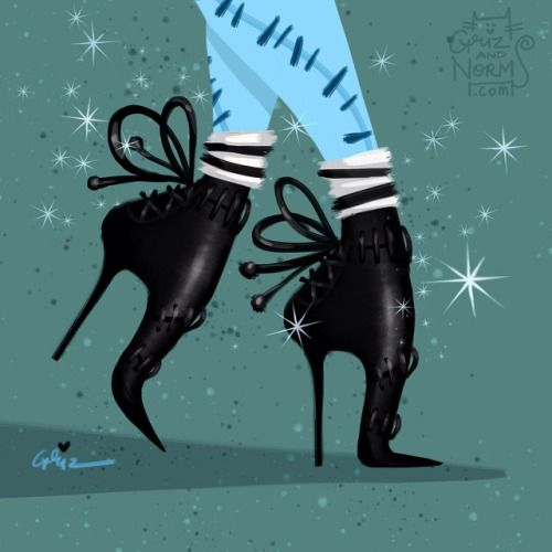Sally in a Tabitha Simmons stitched booties inspired design #nightmarebeforechristmas -- GrizandNorm