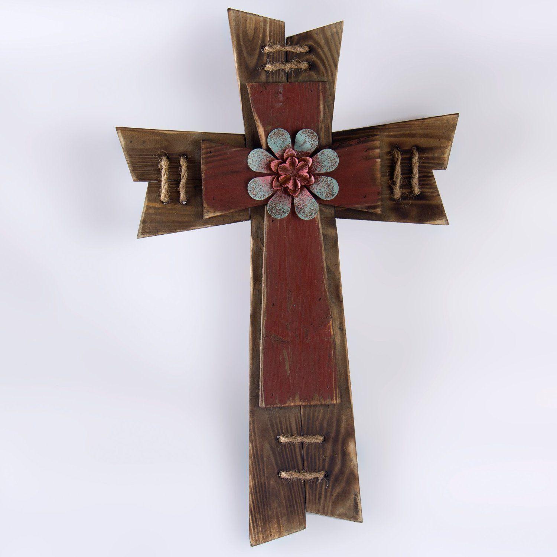 Amazon Com Glitzhome Wooden Stacked Crosses Wall Decor Cross