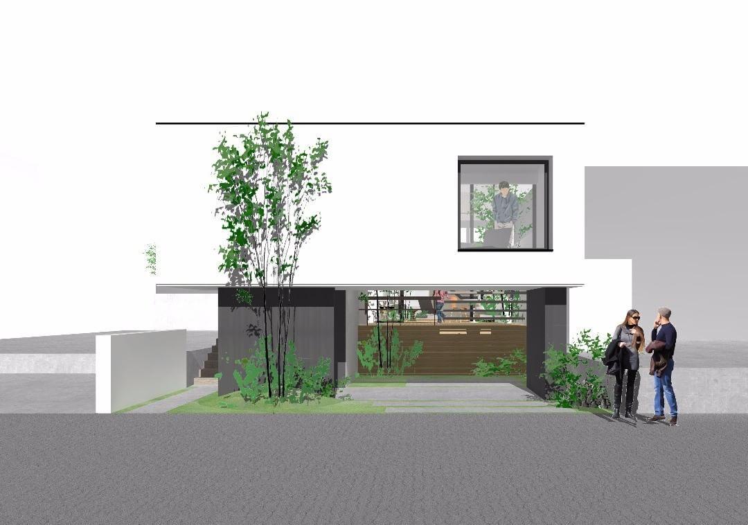 シンプルに個性的に ウッドデッキ 中庭 吹抜プラン パース 注文住宅