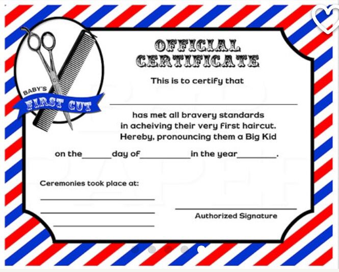 First Haircut Certificate Baby Hoffman Pinterest Certificate