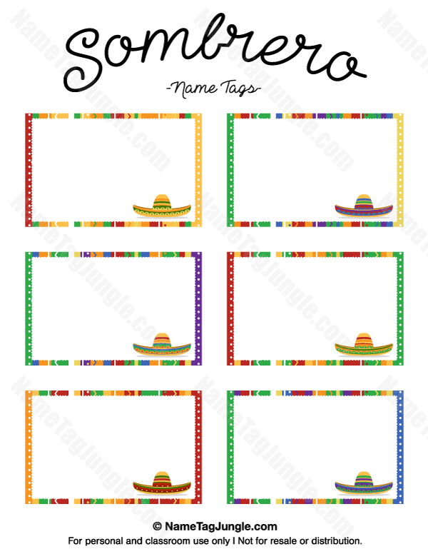 Free Printable Sombrero Name Tags The Template Can Also Be Used For - Name tags templates