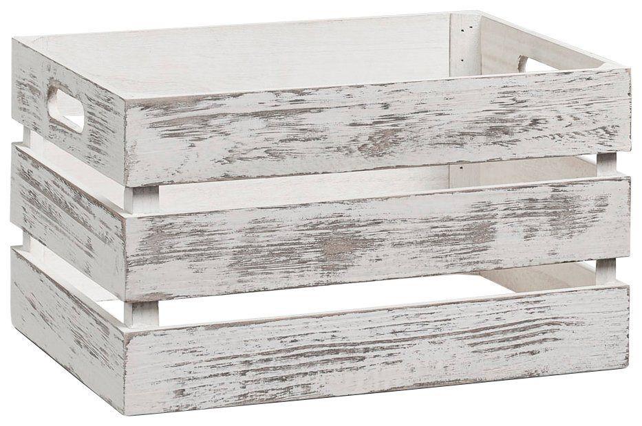 Vintage Holzkiste Zur Aufbewahrung Farbe Weiss Masse 35x25x20 Cm