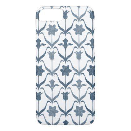 Art Nouveau Spring Bulbs  Monogram  White Navy iPhone 8/7 Case - elegant gifts gift ideas custom presents