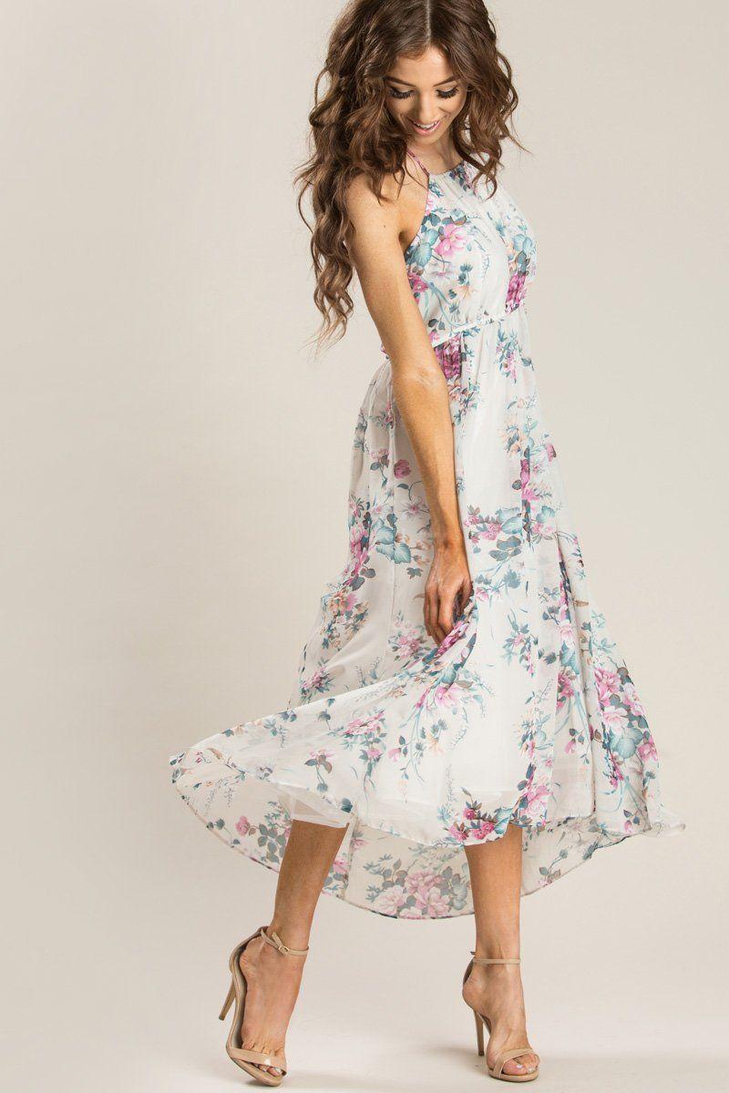 bc962037103 Cute Dresses for Women – Morning Lavender. Aurora Off White Floral Halter  Dress - Morning Lavender