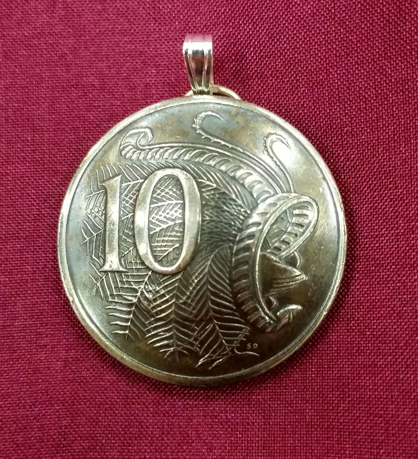 Australia Lyrebird 10 Cents Coin Domed Pendant pinned by
