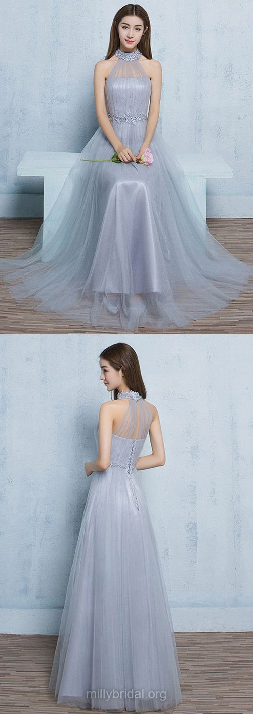Long Prom Dresses 2018, A-line Prom Gowns High Neck, Tulle Party Dresses Silver, Pearl Detailing Formal Evening Dresses Glamorous