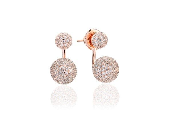 Ear jackets Bobbio Due - 18k rose gold plated with white zirconia!