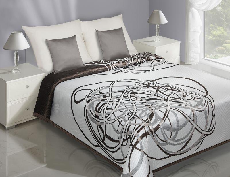 Dwustronne modne narzuty na łóżko do sypialni w kolorze białym z brązowym wzorem