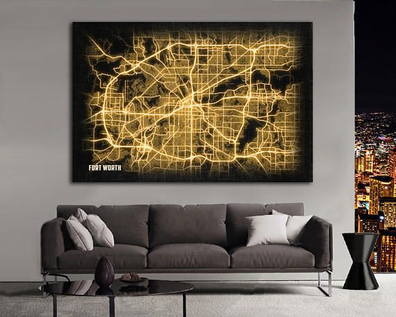 FORT WORTH Texas Night Lights Map Large Horizontal Wall Art Map Fort Worth  Texas Modern Art