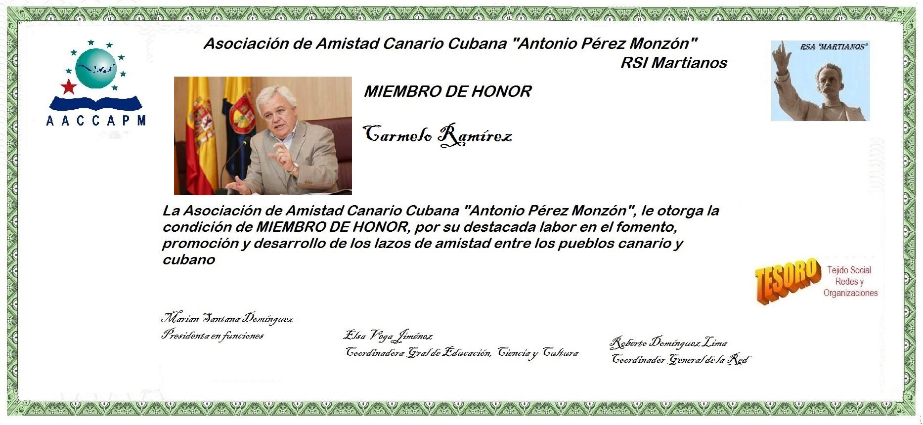 Martianos Carmelo Ramírez Miembro de Honor de la AACC-APM