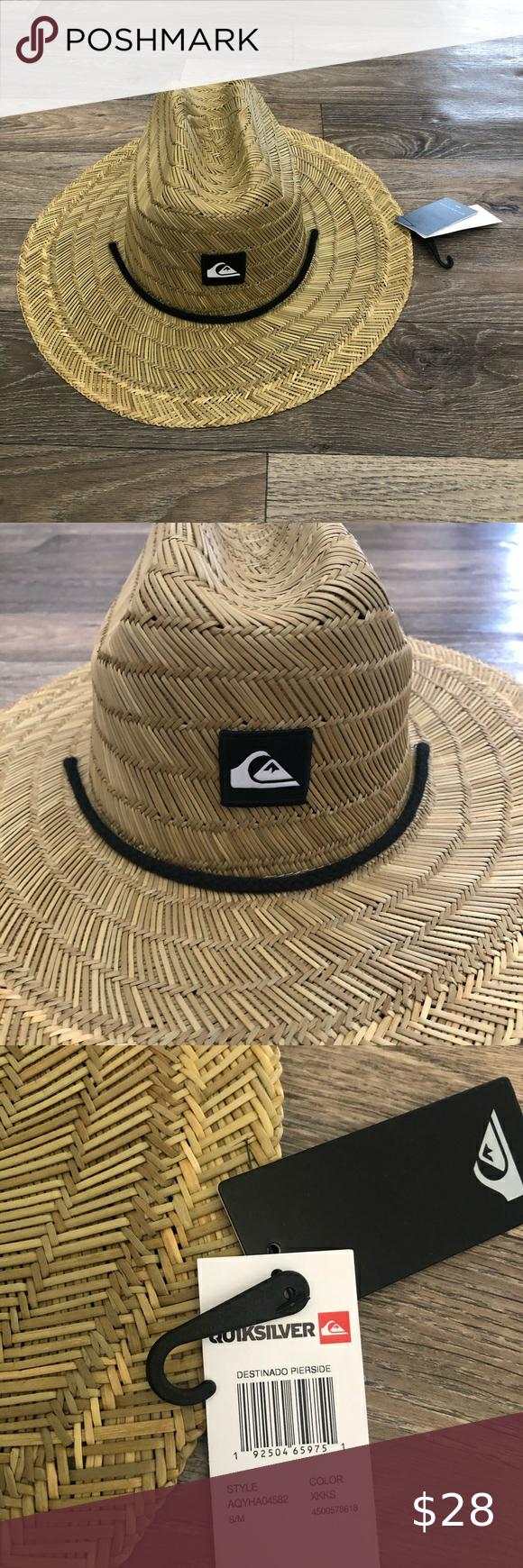 New Mens Quicksilver Pierside Straw Hat Nwt S M Straw Hat Hats Men