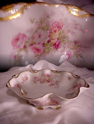 1800s Haviland Limoges France Large Ruffled Bowl Pink Roses Double Gold | eBay