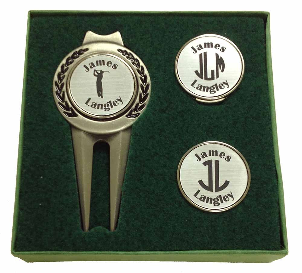 Deluxe Personalized Divot Tool Hat Clip Golf Ball Marker Set Pewter Markers Set Ball Markers Golf Christmas Gifts