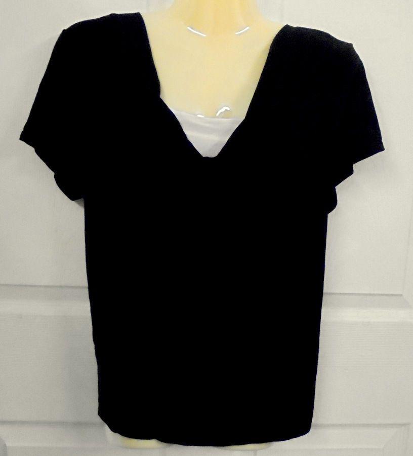 STUDIO I BLACK SHIRT TOP Size:14 Polyester Short Cap Sleeves #STUDIOI #PulloverTopBlouse #Casual