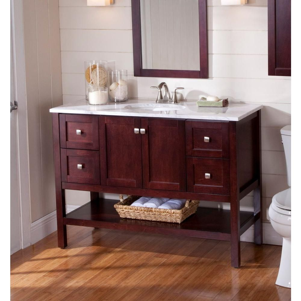Charming St. Paul Sydney 48 1/2 In. Vanity In Dark Cherry With Stone Effects Vanity  Top In Cascade