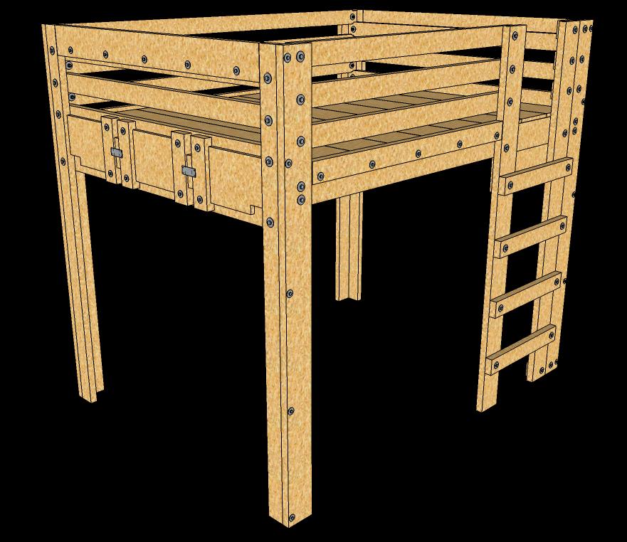 Queen Loft Bed Plans Description These queen loft bed