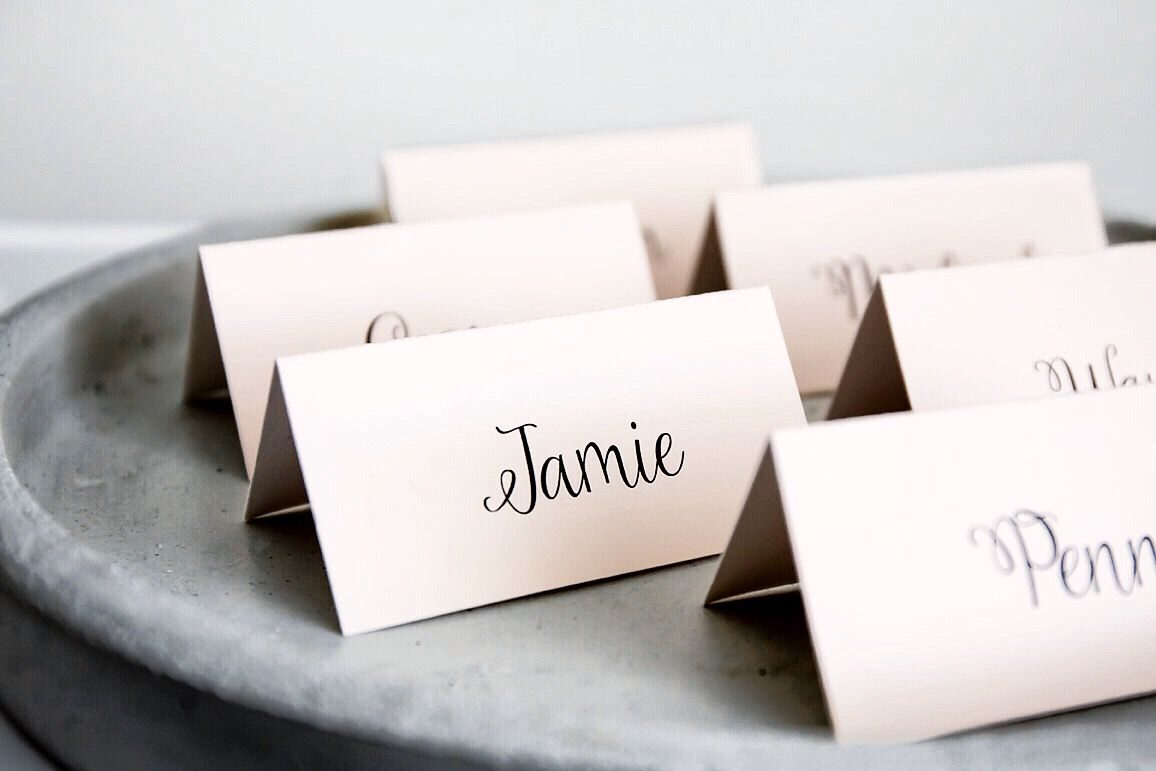 Blush wedding reception placecards. Font and colours can be modified ...