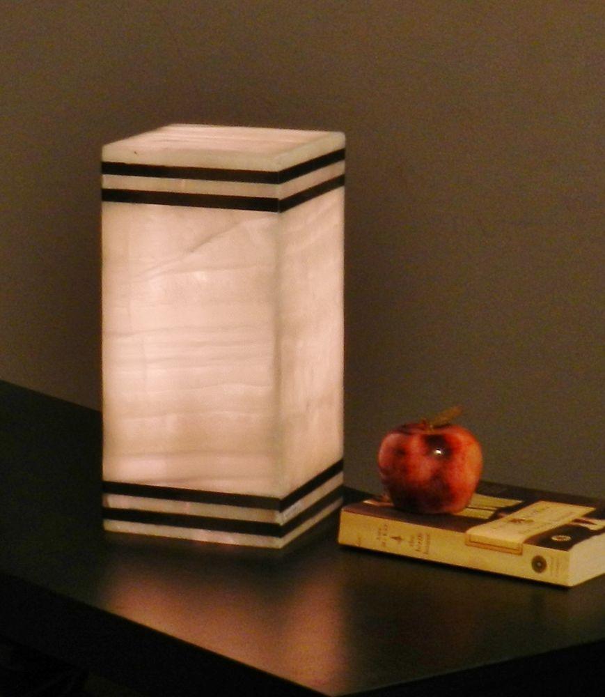 Table lamp vs desk lamp - Table Lamp Onyx Alabaster Quartz Stone Modern Desk Bedside Square Cube