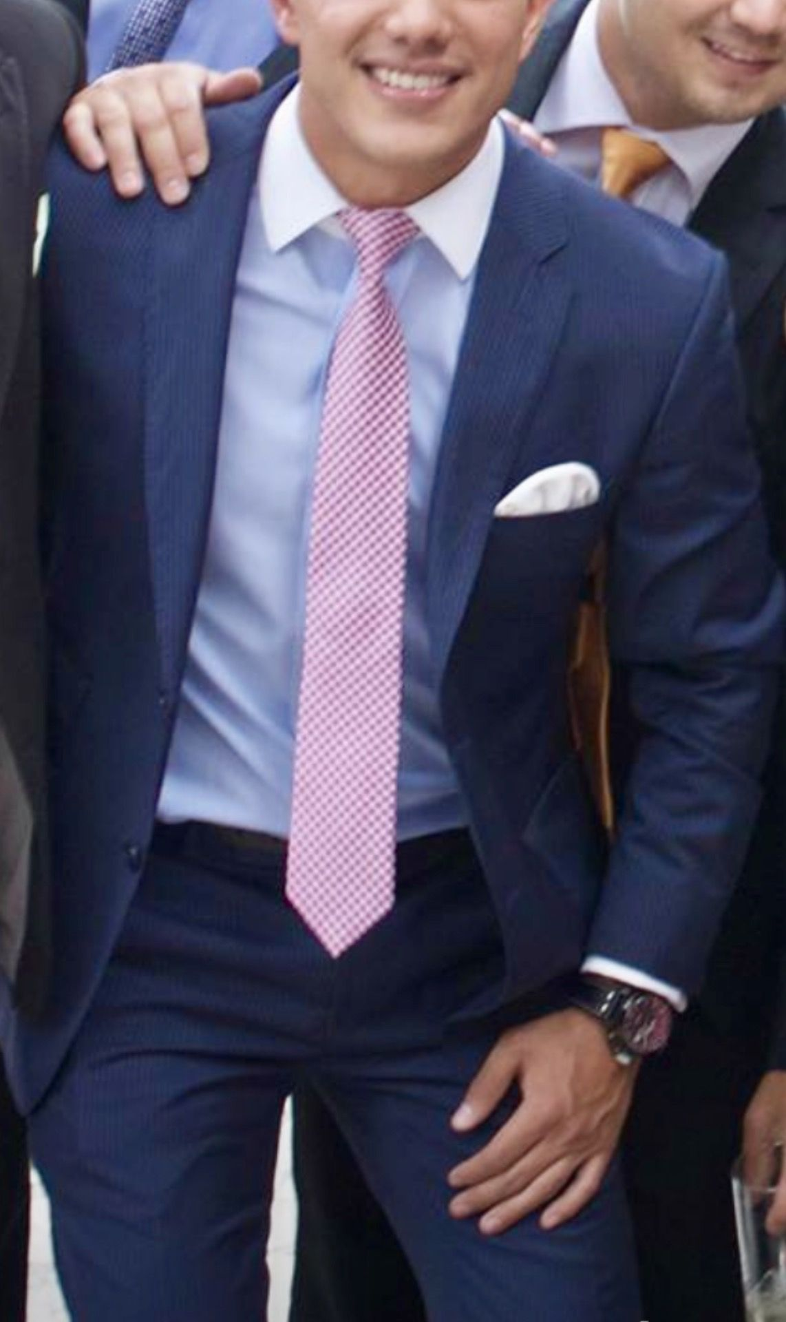 Pink dress shirt blue suit  Blue suit pink tie awesome shirt  fashion  Pinterest  Man