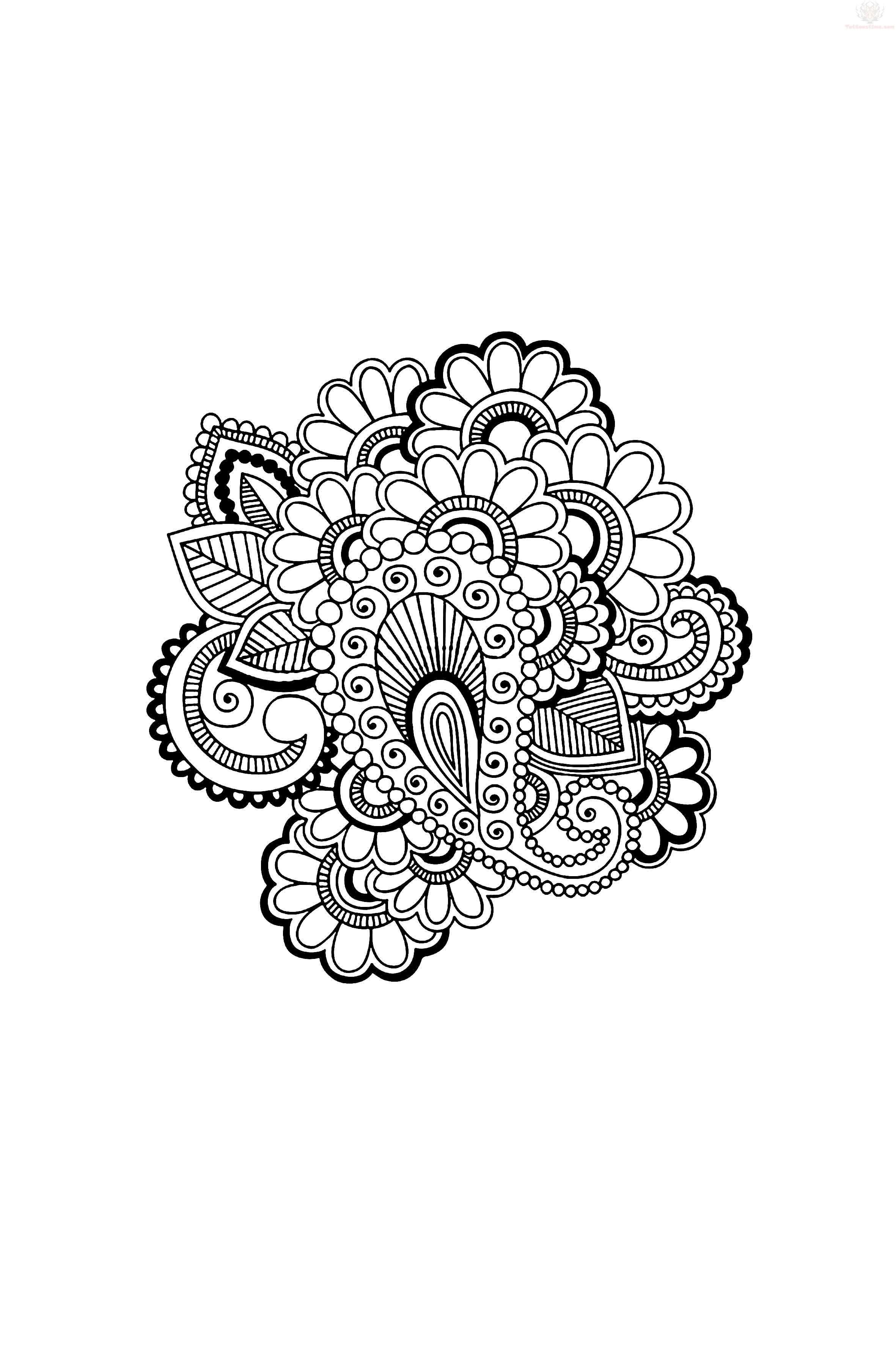 Mano-Drawn intrincadas Abstract Flowers Mehndi Henna Tattoo Paisley ...