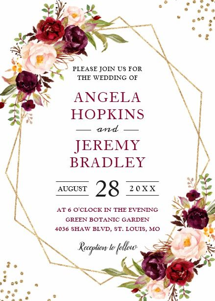 Blush Burgundy Floral Modern Gold Frame Wedding Card I Thee Wed