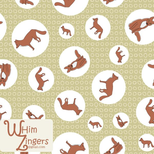 A digital repeat pattern for seamless tiling. #repeatpattern #seamlesspattern #textiledesign #surfacepatterndesign #vectorpatterns #homedecor #apparel #print #interiordesign #decor #repeat #pattern #repeat #seamless #repeating #tile #scrapbooking #wallpaper #fabric #texture #background #whimzingers #animals #fox #foxes #brown #green #polka #dots #polkadots