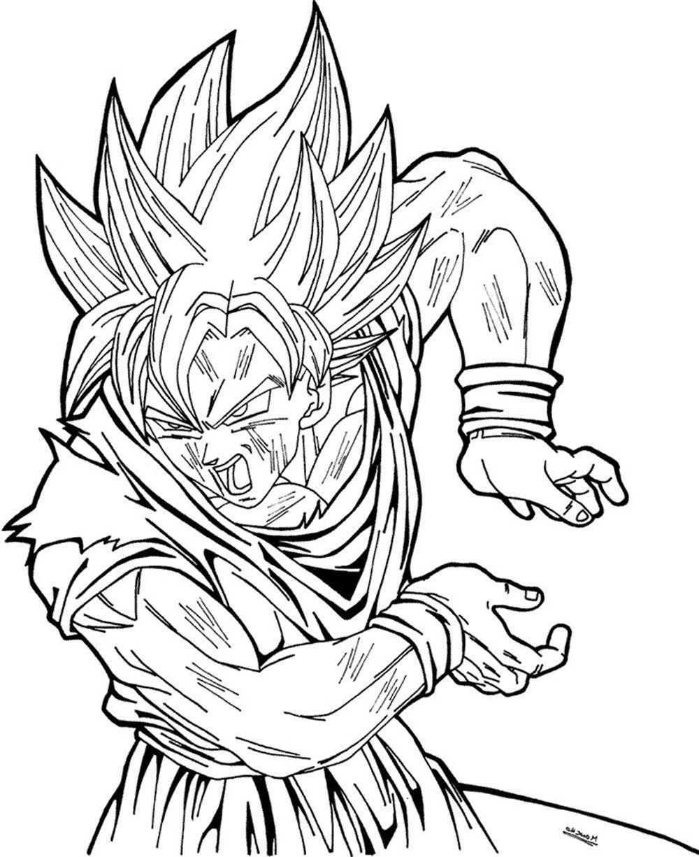 Dibujo de Son Goku sayan haciendo un k | Imagen para colorear ...