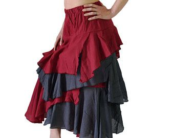 4b33e16cc6 MULTI LAYERED SKIRT Maroon and Grey - Steampunk, Renaissance Festival,  Pirate Skirt, Belly Dance, Medieval Clothing, Game of Thrones Costume