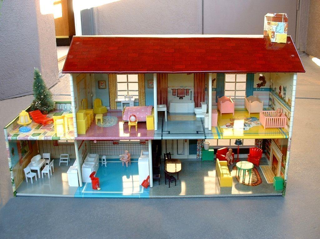 Vintage MARX Tin Litho DOLL HOUSE Dollhouse 51 Pieces FURNITURE BOX  Original Packaging C.1950u0027s!