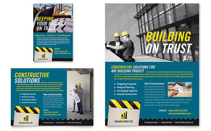 Industrial And Commercial Construction Flyer And Ad Template