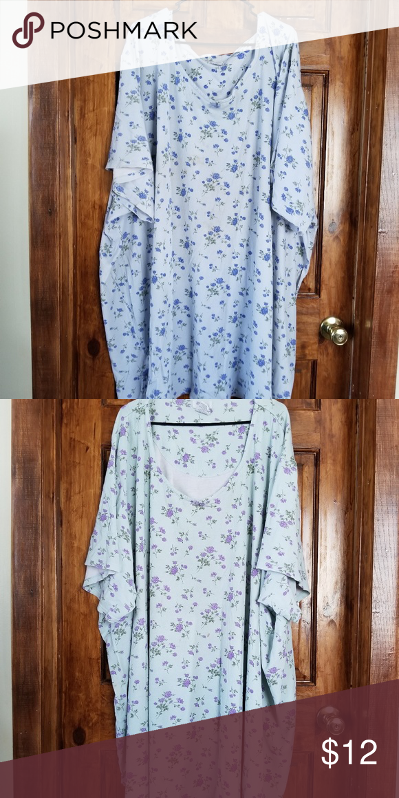 33c7c1c27a 2 Women Within nightgowns for 12.00 2 nightgowns   can be used as shirts  Blue with blue flowers Green with purple flowers 100% cotton Sleeve length  11 1 2 ...