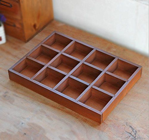Multifunctional 12grid Vintage Wooden Storage Divider Box Drawer Desk Organizer Tray For Craftsflowers Pla Desk Organizer Tray Wooden Storage Desk With Drawers
