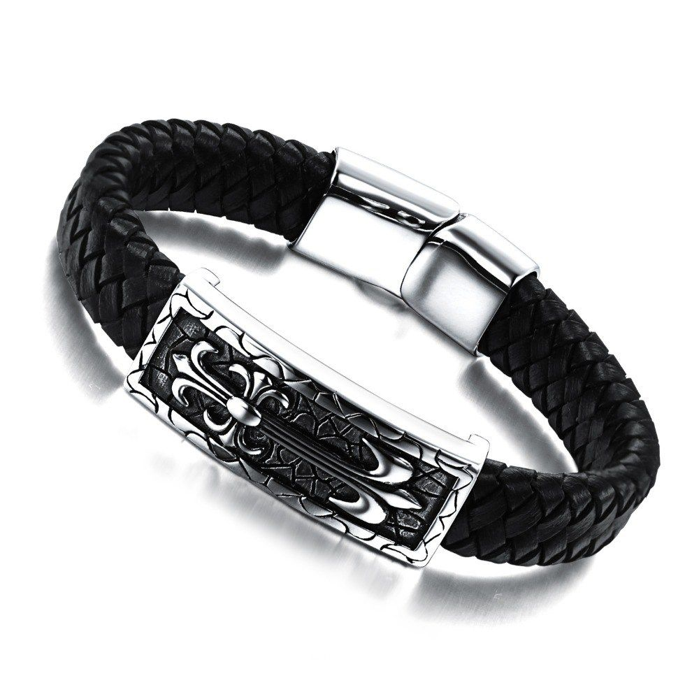 Elegant leather and stainless steel bangle bracelet fashion clip