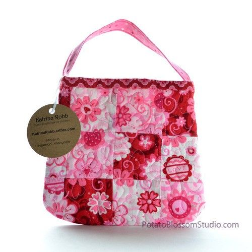 Toddler purse handmade in quilted patchwork