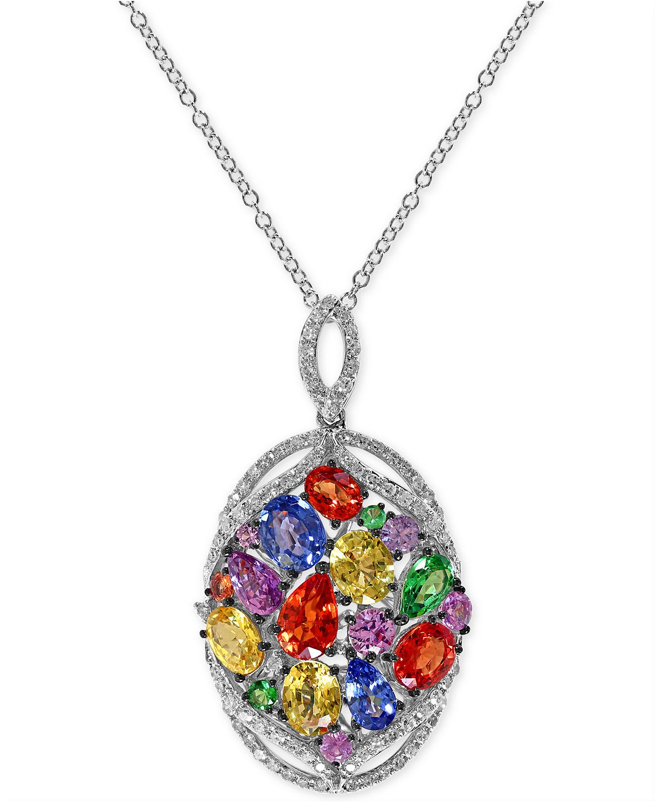 in mosaic effy pin gold necklace multi pendant cluster stone