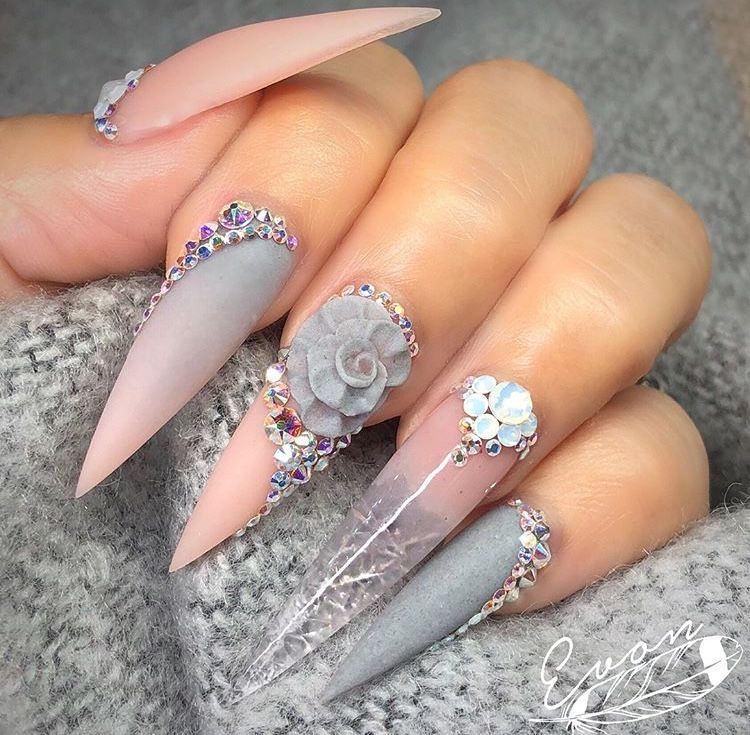 Grey Pink Ombre Nails With White Diamonds Stiletto