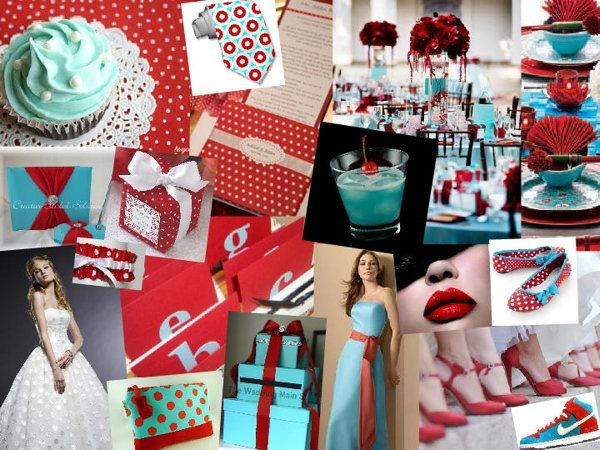 red and teal wedding inspiration- Alicia- she likes the blue punch ...