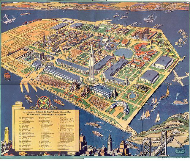 High resolution Treasure Island World's Fair Map | Deco era Maps