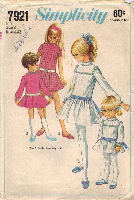 1960s Simplicity 7921 Vintage Sewing Pattern Girl\'s Drop Waist Dress ...