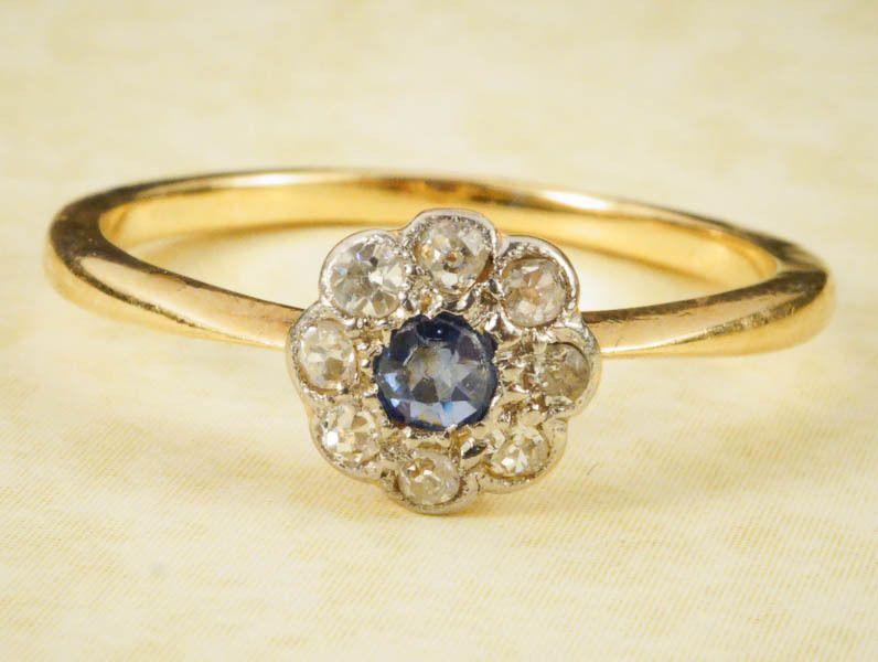 8bf74bc864c2e ANTIQUE ENGLISH VICTORIAN 18K GOLD PLATINUM SAPPHIRE DIAMOND FLOWER ...