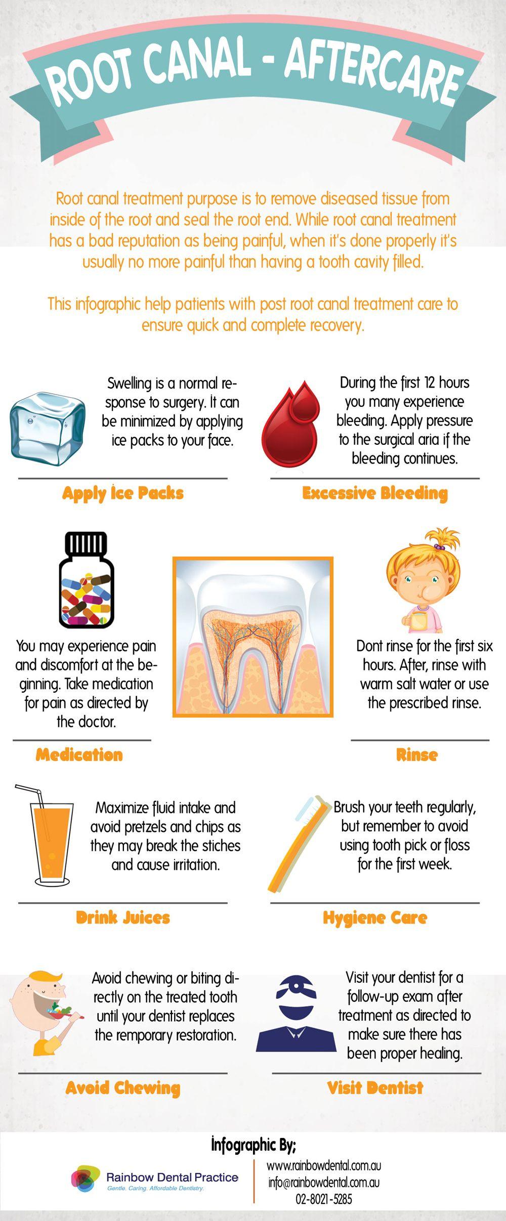 RootCanal Aftercare Infographic dental Dental, Dental