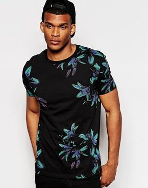 ASOS T-Shirt With All Over Floral Print And Relaxed Skater