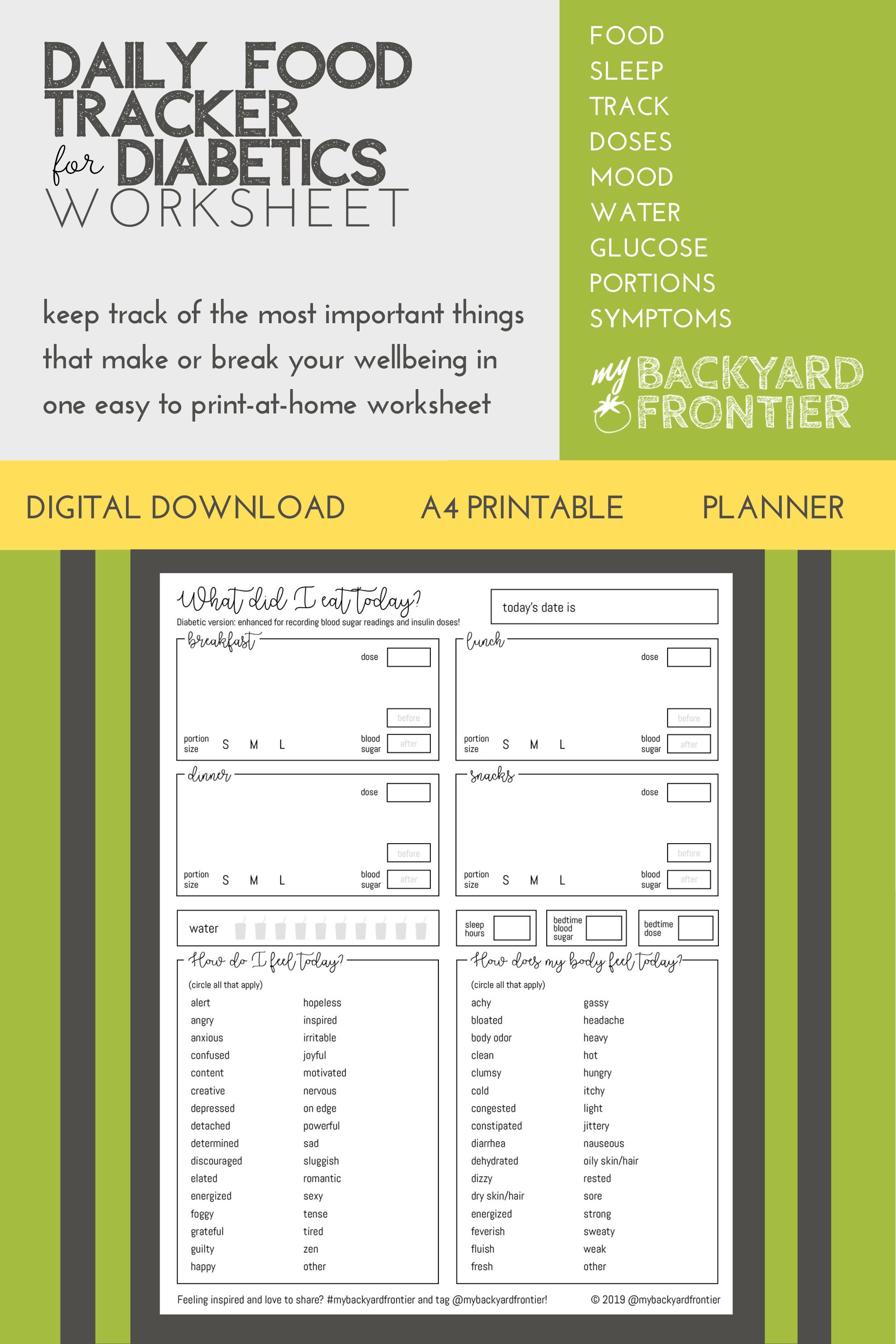 Printable Food Mood Journal For Diabetics Printable