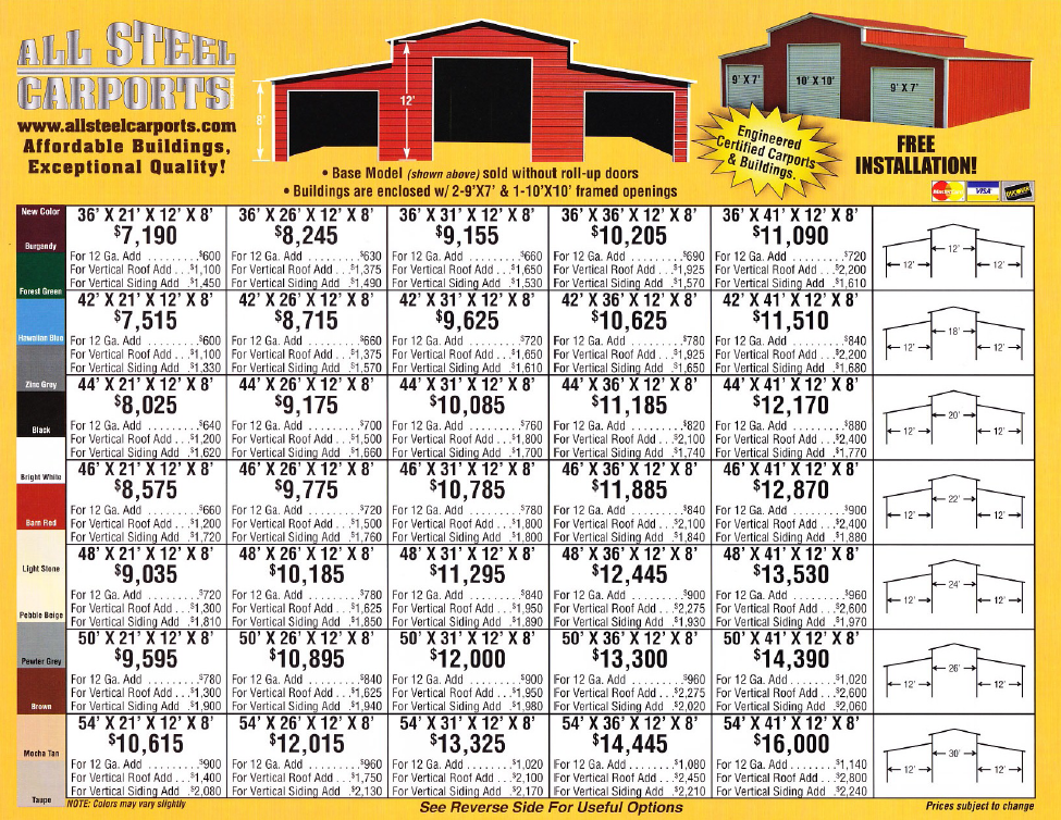 Price list of model I'm considering in All Steel Carports