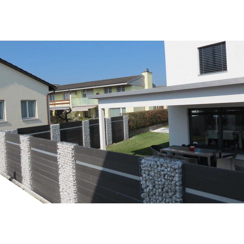 WPC Zaun Kombination mit Gabionen Garten Pinterest