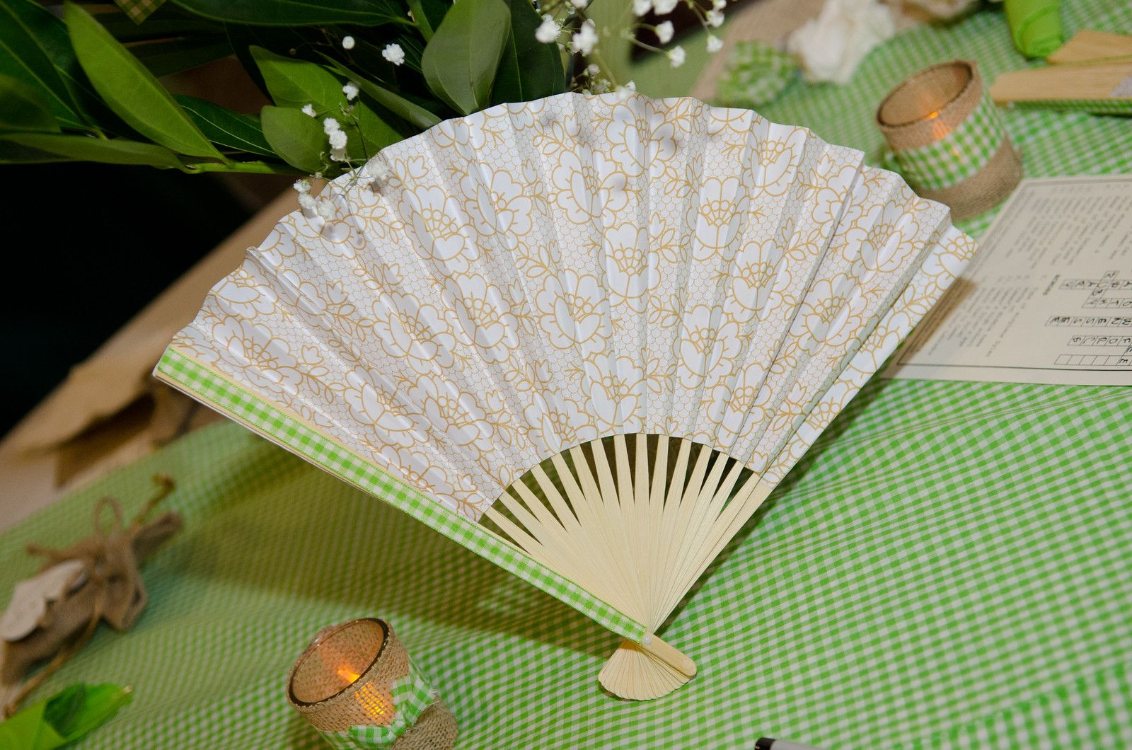 Rustic wedding green gingham burlap fan for DIY Green Gingham