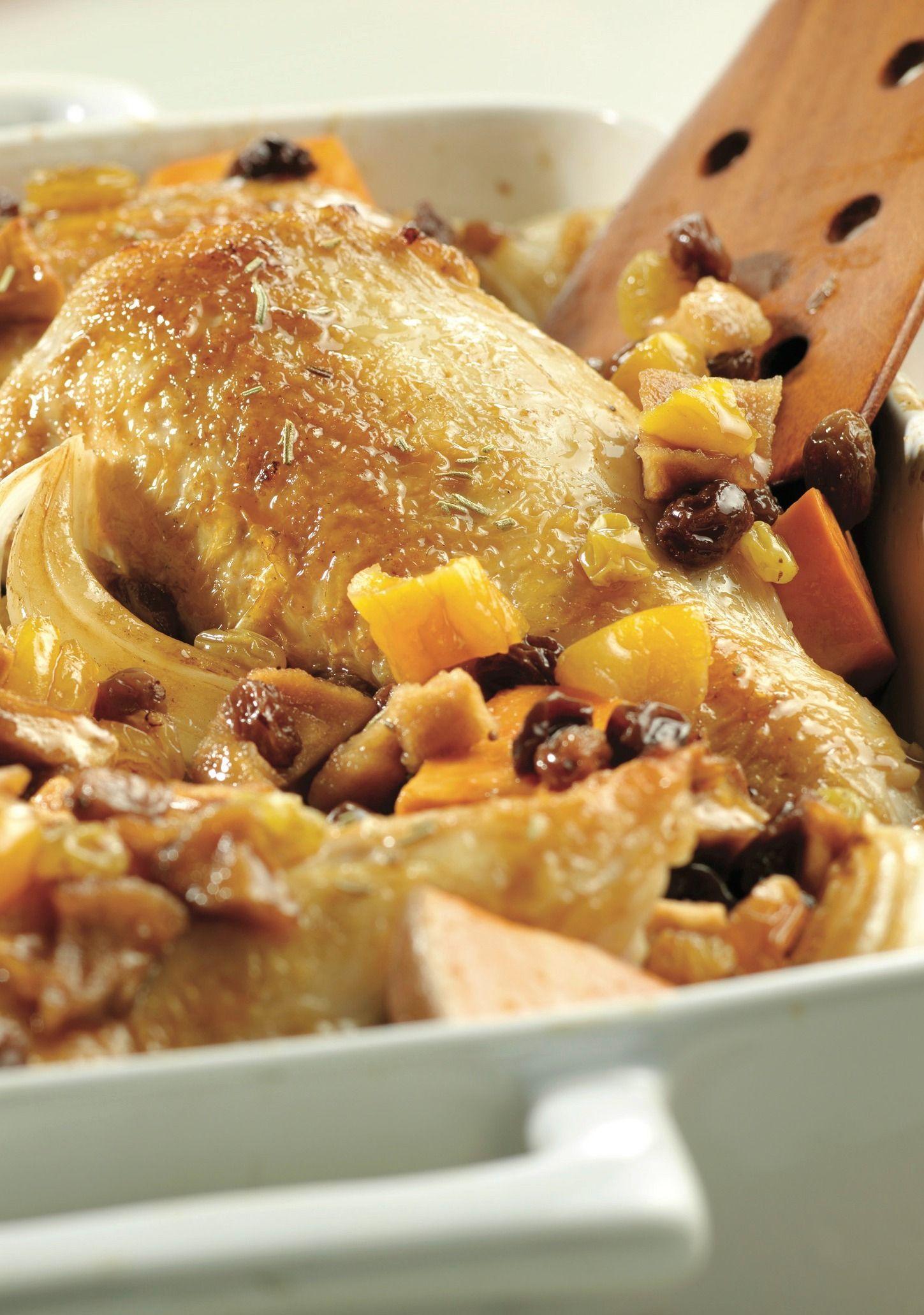 Glazed chicken with fruit sweet potatoes recipe