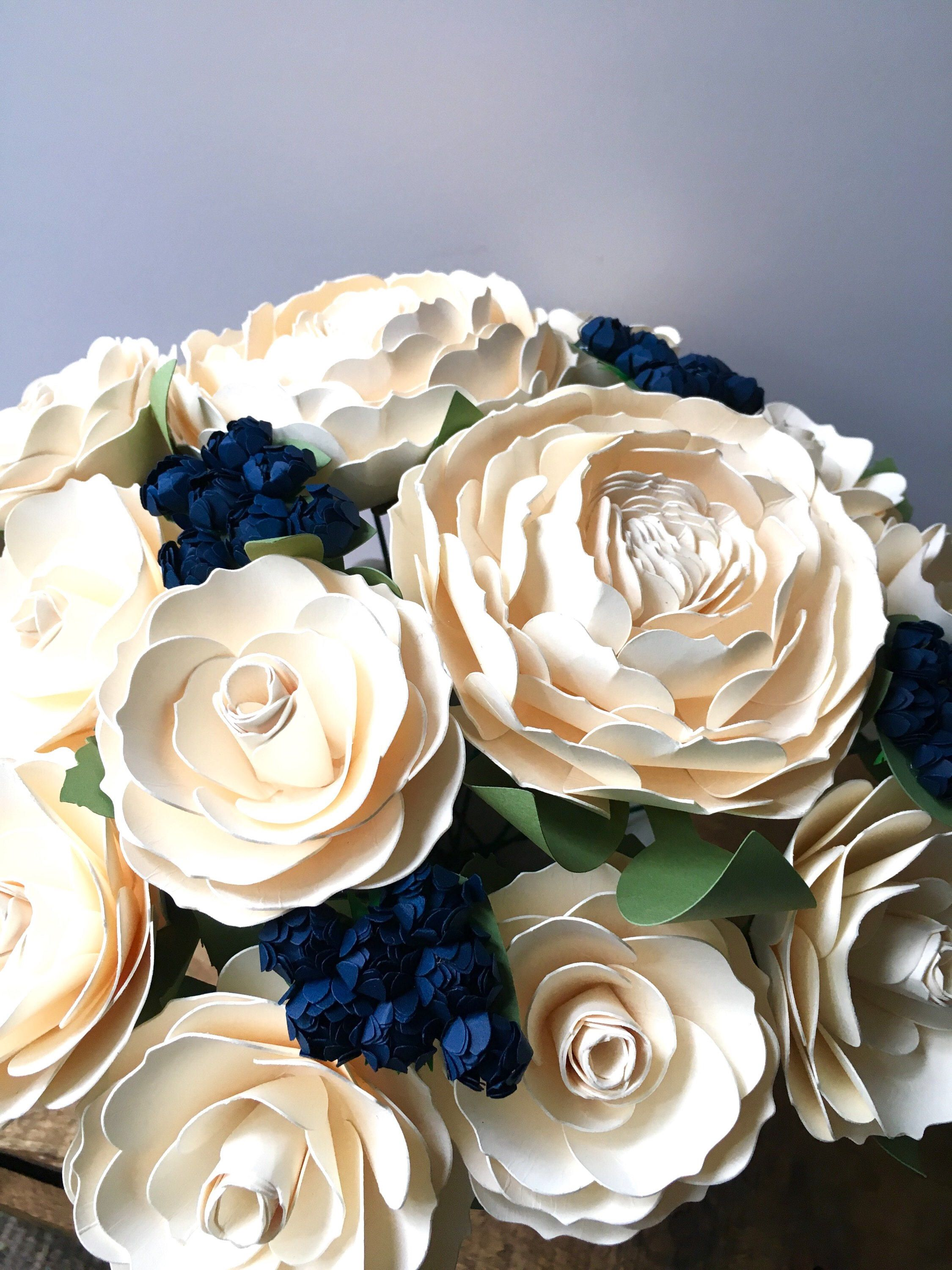 Excited to share the latest addition to my  etsy shop  Cream   Ivory and  Navy Blue Paper Flower Wedding Bouquet - Ranunculus - Roses - Paper Roses -  Bridal ... 2d6c7a62db9