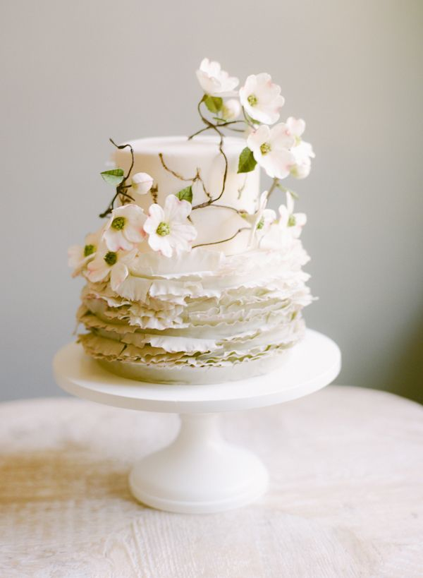 A simple wedding at home once wed wedding cake cake and flower dogwood white flower wedding cake maggie austin mightylinksfo